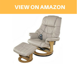 Kings Brand Cream White Massage Recliner Swivel Chair and Ottoman