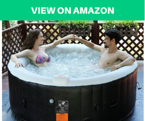 Goplus Portable Inflatable Hot Tub for Outdoor Bubble Massage Spa Relaxing 4 Person