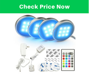BASON RGB LED Under Cabinet Lighting Closet Puck lights Color Changing for Kitchen Shelf Decoration